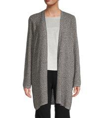 eileen fisher women's silk & organic linen open-front cardigan - black grey - size xxs