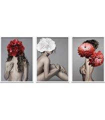 quadro 60x120cm astra mulher com flores vermelha e branca moldura branca sem vidro - tricae