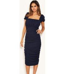 ax paris women's puff sleeve ruched bodycon midi dress