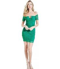 vestido paradise garden lace galloon verde guess