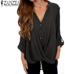 zanzea mujer de manga larga camisa ocasional asimétrico blusa floja botones tops abajo plus -negro