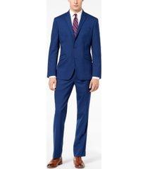 kenneth cole reaction men's ready flex bright blue sharkskin slim-fit suit