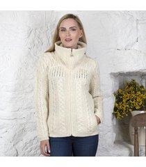ladies double collar zipper cardigan cream large