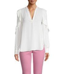 bailey 44 women's emma ruffled blouse - eggshell - size xs