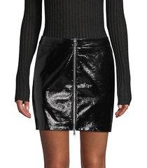 claudia leather zip mini skirt