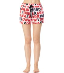 dkny printed french terry pajama shorts