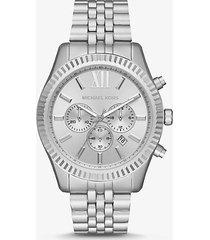 mk orologio lexington oversize in alluminio tonalità argento - argento (argento) - michael kors
