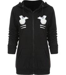 zipper black cat hoodie with pompom ball
