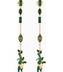 orecchini bamboo panda, verde, placcato color oro