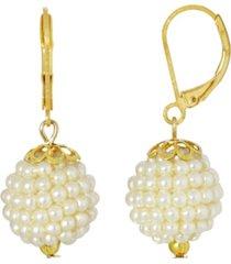2028 gold-tone imitation pearl ball drop earring