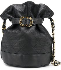 chanel pre-owned 1980s diamond quilt belted bucket bag - blue