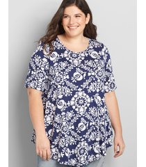lane bryant women's perfect sleeve max swing tunic tee 34/36 blue floral