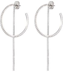 cubic zirconia half hoop single fringe earring