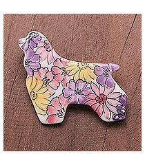 ceramic brooch pin, 'cocker spaniel flowers' (thailand)