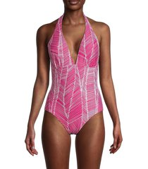 dkny women's halter one-piece swimsuit - hot pink - size 6