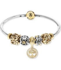 rhona sutton cubic zirconia family tree charm bangle bracelet gift set in sterling silver
