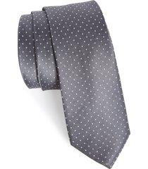 men's the tie bar dot silk tie, size regular - grey