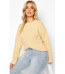plus textured oversized knit sweater, camel