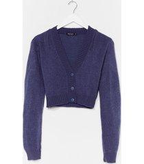 womens knit the floor v-neck cropped cardigan - denim-blue