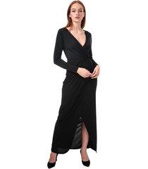 womens long sleeve wrap slinky maxi dress