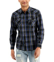 sun + stone men's silas western plaid shirt, created for macy's