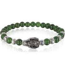 blackbourne designer men's bracelets, jade irregular stone men's bracelet w/gunmetal swarovski crystal skull