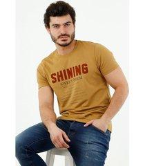 camiseta de hombre, cuello redondo, manga corta, con estampado shining
