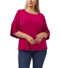 plus size bell sleeve embroidered top
