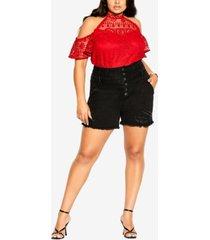city chic trendy plus size corset-waist denim shorts
