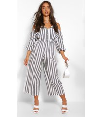 linen stripe button bardot jumpsuit, grey marl