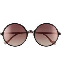 moncler 57mm round sunglasses in black/rose/violet gradient at nordstrom