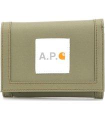 a.p.c. x carhartt trifold wallet - green