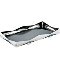 bandeja bar origami retangular prata com vidro preto riva