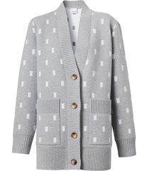 burberry monogram button-front cardigan - grey