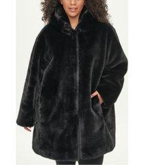 dkny plus size hooded faux-fur coat