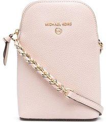 michael michael kors jet set charm leather pebble crossbody bag - pink