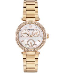 kenneth cole new york women's dress sport stainless steel, crystal & mother-of-pearl chronograph bracelet watch