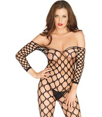 ring net bodystocking - black - one size