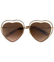 chloé eyewear poppy heart-frame sunglasses - brown
