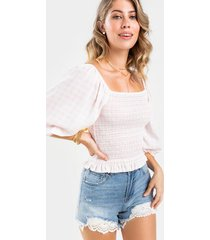 alivia smocked gingham blouse - pink
