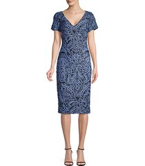soutache-trimmed sheath dress