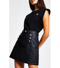 river island womens black pu quilted mini skirt