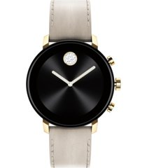 movado connect 2.0 gray leather strap touchscreen smart watch 40mm