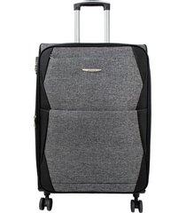 maleta de viaje mediana negro rayo - explora