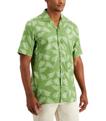 alfani men's regular-fit fern-print camp shirt, created for macy's