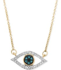 wrapped diamond evil-eye pendant necklace (1/6 ct. t.w.) in 10k gold or 10k white gold, created for macy's