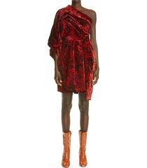 dries van noten delta rose print velvet one-shoulder dress, size 8 us in 352 red at nordstrom