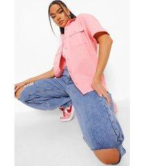 utility blouse met korte mouwen, coral