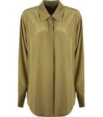 federica tosi military green silk shirt