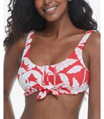 body glove printed tropix vibe kate scoop-neck ribbed swim top women's swimsuit